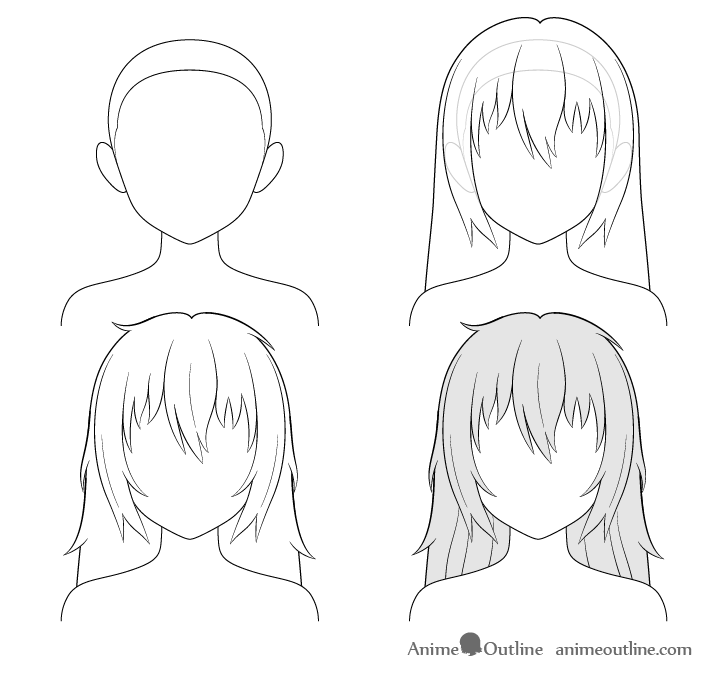 how to draw anime step by step how to draw anime and manga hair female animeoutline to step anime draw how step by