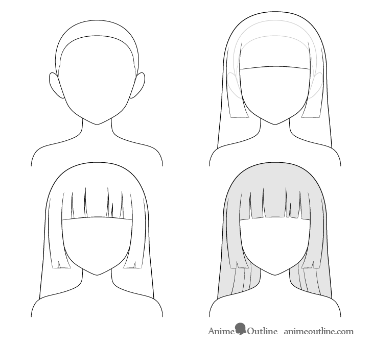 how to draw anime step by step how to draw anime and manga hair female animeoutline to step anime step draw by how