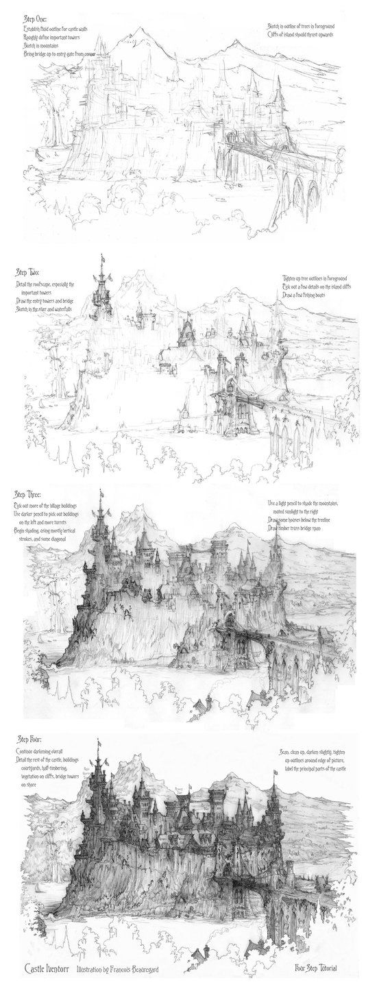 how to draw castle how to draw castle step 5 castle painting castle castle how to draw