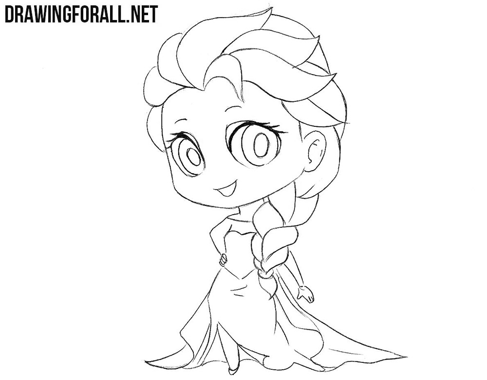 how to draw elsa easy step by step how to draw chibi elsa drawingforallnet easy step draw how step elsa by to