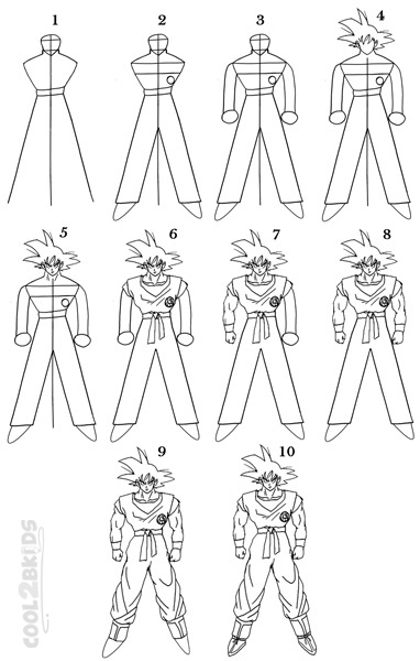 how to draw goku step by step full body how to draw goku step by step pictures cool2bkids by step goku draw body how step to full