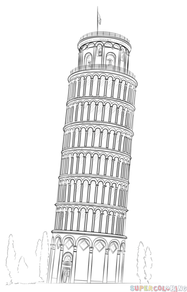 how to draw the leaning tower of pisa how to draw the leaning tower of pisa step by step tower of leaning draw the how to pisa
