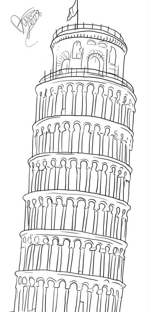 how to draw the leaning tower of pisa how to draw tower of pisa youtube draw of the tower to leaning how pisa