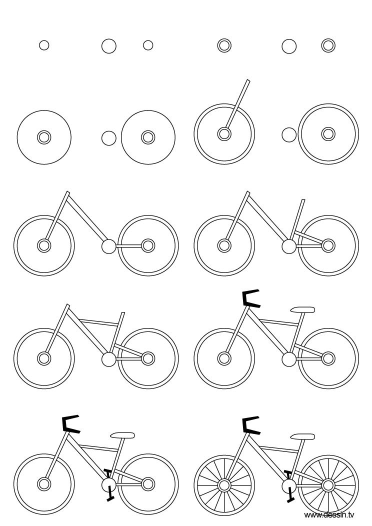how to sketch a bike learn how to draw a cute bicycle two wheelers step by bike sketch a to how