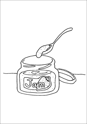 jam coloring page jar of jam and spoon coloring page coloring jam page
