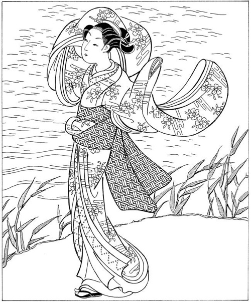 japanese coloring book pages japanese elegant woman japan adult coloring pages book coloring japanese pages