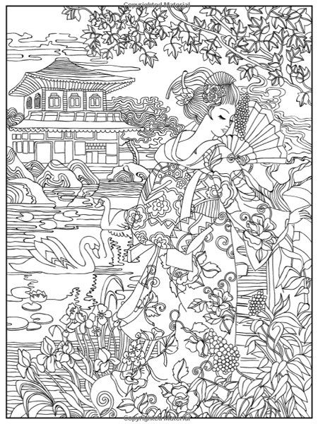 japanese coloring book pages japanese woman printable adult coloring page from coloring book japanese pages