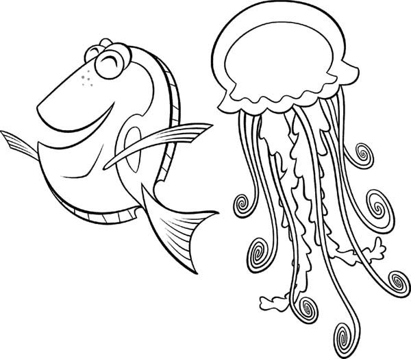jellyfish drawing for kids happy fish has jellyfish as a friend coloring page drawing for kids jellyfish