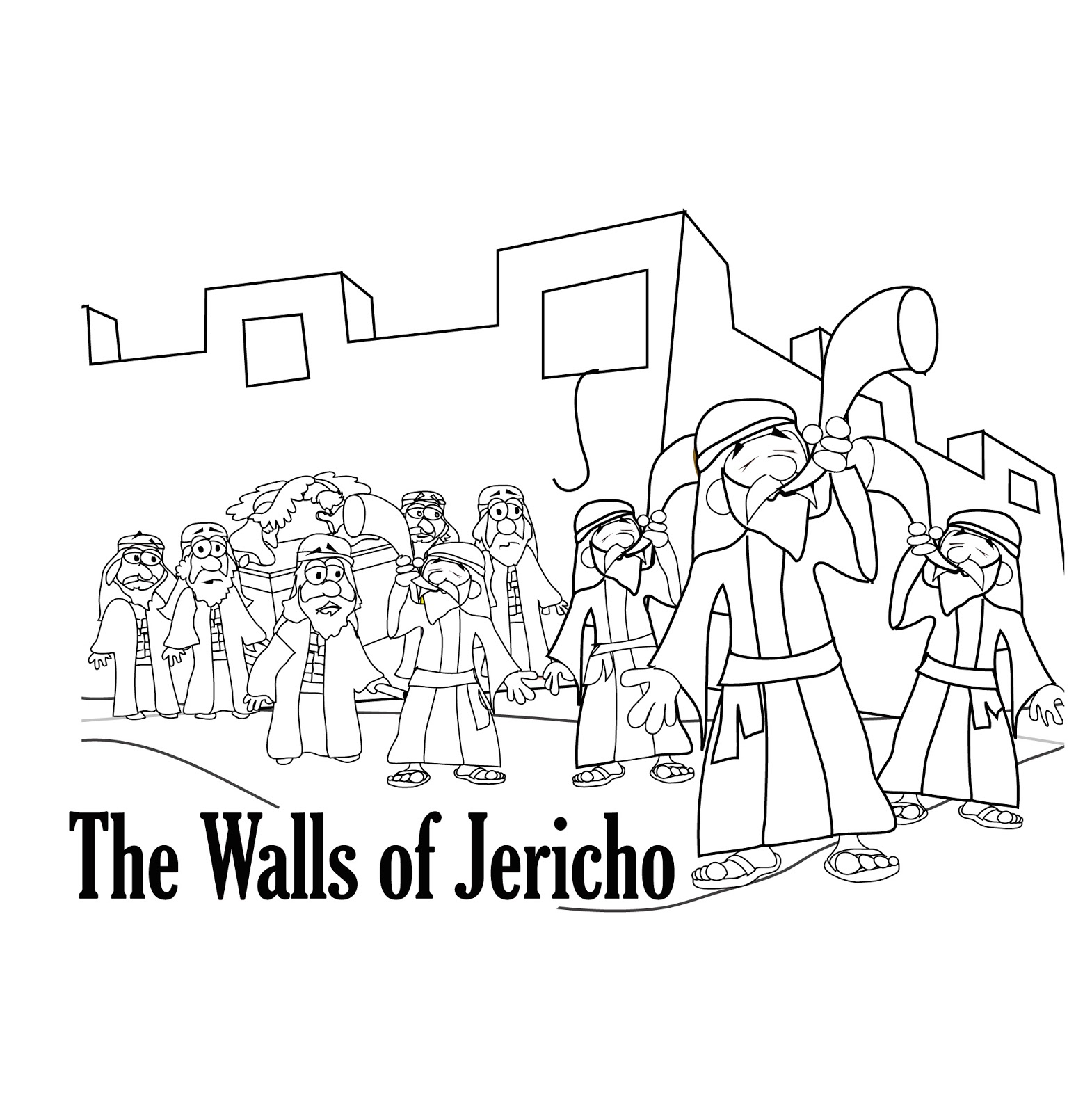 jericho coloring page seven priests blow their trumpets in jericho coloring page jericho coloring page