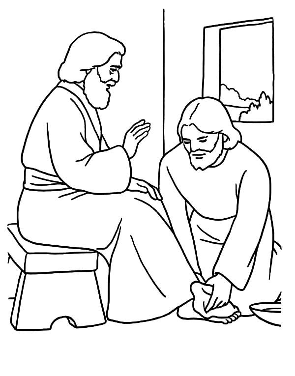 jesus washes the disciples feet coloring page jesus washes the disciples39 feet coloring page sunday washes coloring disciples jesus feet the page