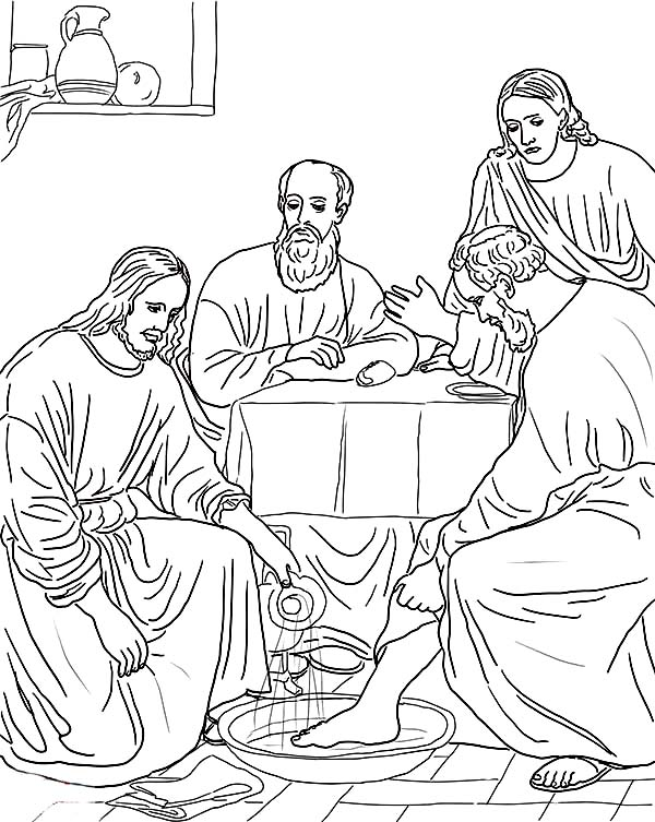 jesus washes the disciples feet coloring page jesus washing the feet of the apostles bible coloring pages feet coloring page disciples the jesus washes