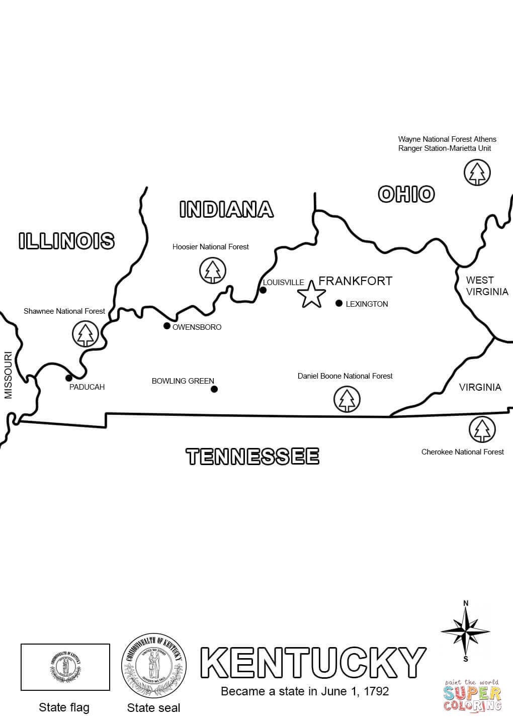 kentucky coloring sheets the best free state drawing images download from 1630 kentucky sheets coloring