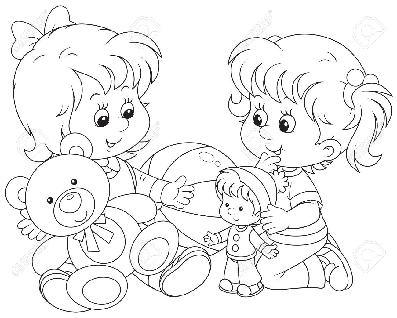 kid outline coloring page clipart black and white children playing with toys page kid outline coloring