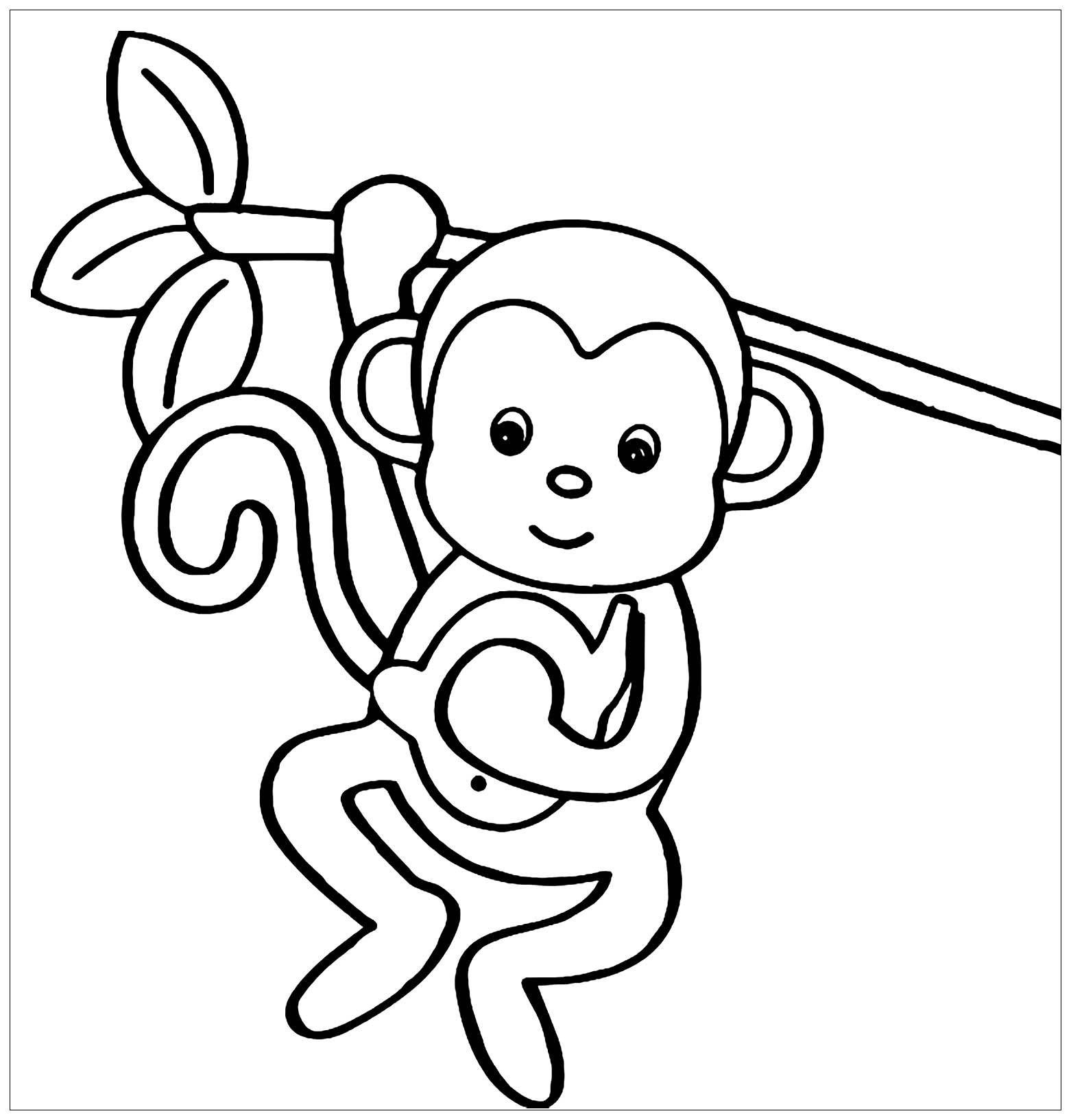 kid outline coloring page monkeys to color for children monkeys kids coloring pages coloring kid outline page