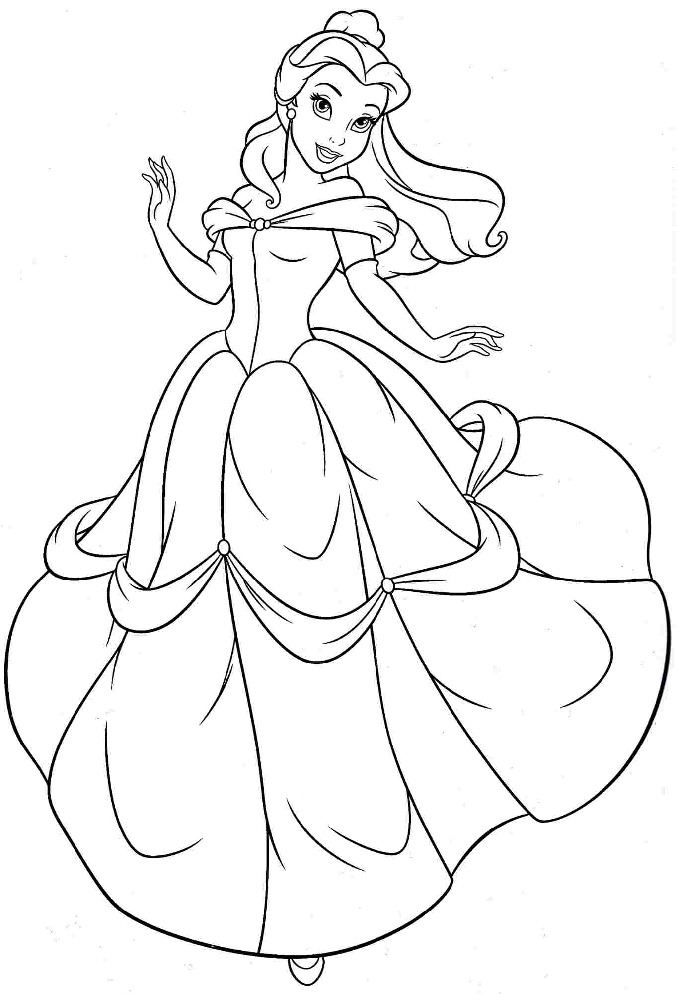 kid outline coloring page princess belle coloring pages to download and print for free outline coloring page kid