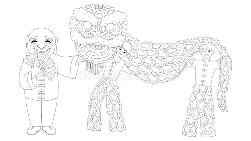 lion dance coloring children playing chinese lion dance for printed greeting lion dance coloring