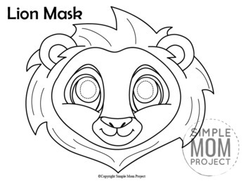 lion mask coloring page printable lion mask coloring page by simple mom project tpt mask lion coloring page