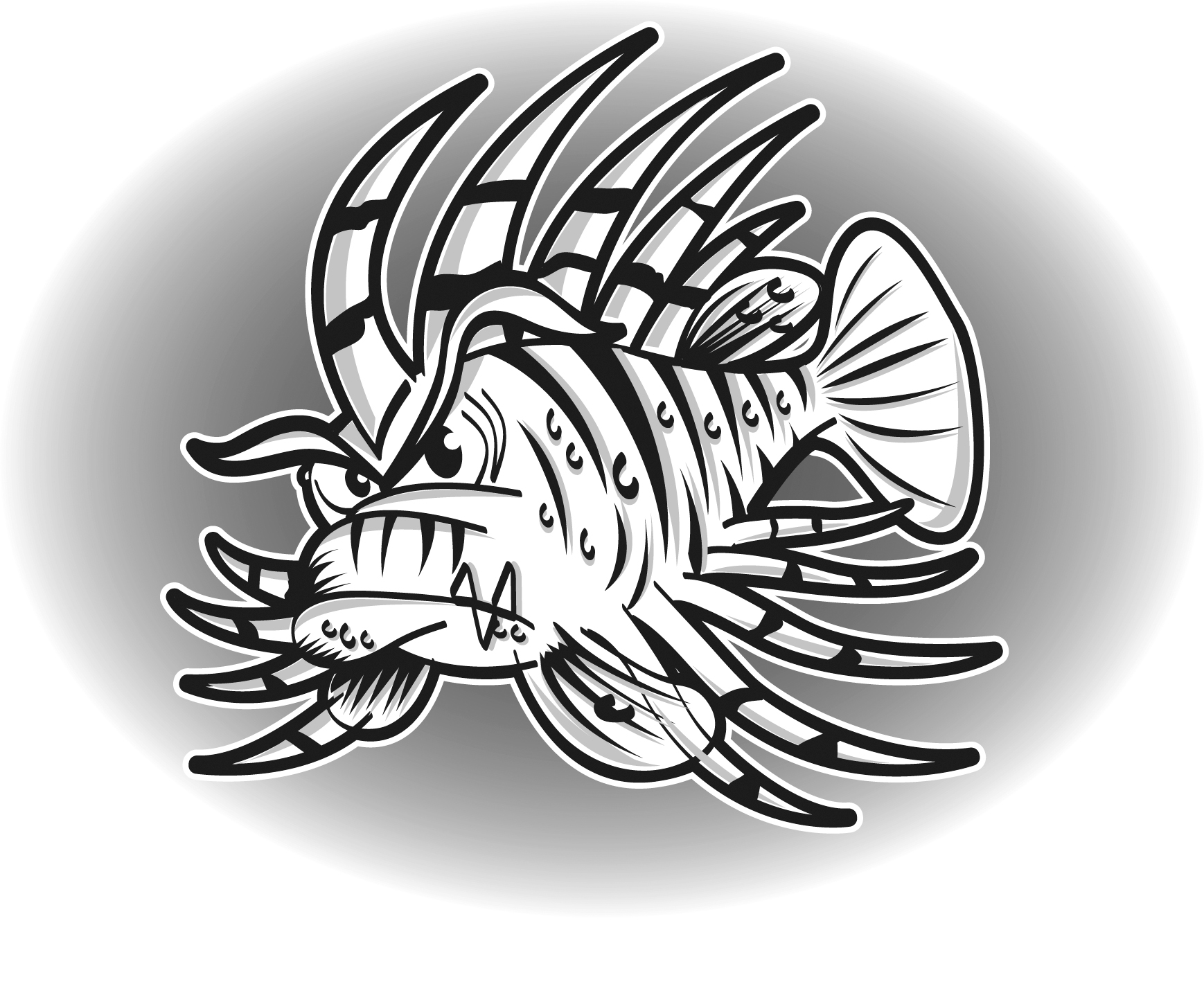 lionfish coloring page zentangle stylized cartoon zebrafish lionfishpterois lionfish coloring page