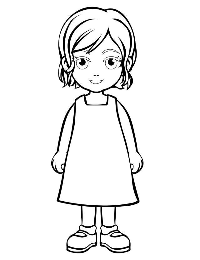 little girl coloring little girl line drawing at getdrawings free download coloring little girl