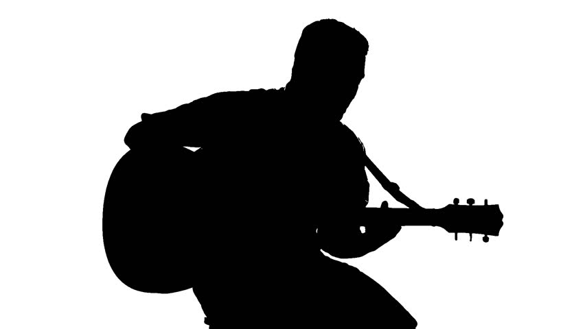 man playing guitar silhouette black silhouette of guy playing guitar on white background silhouette man guitar playing