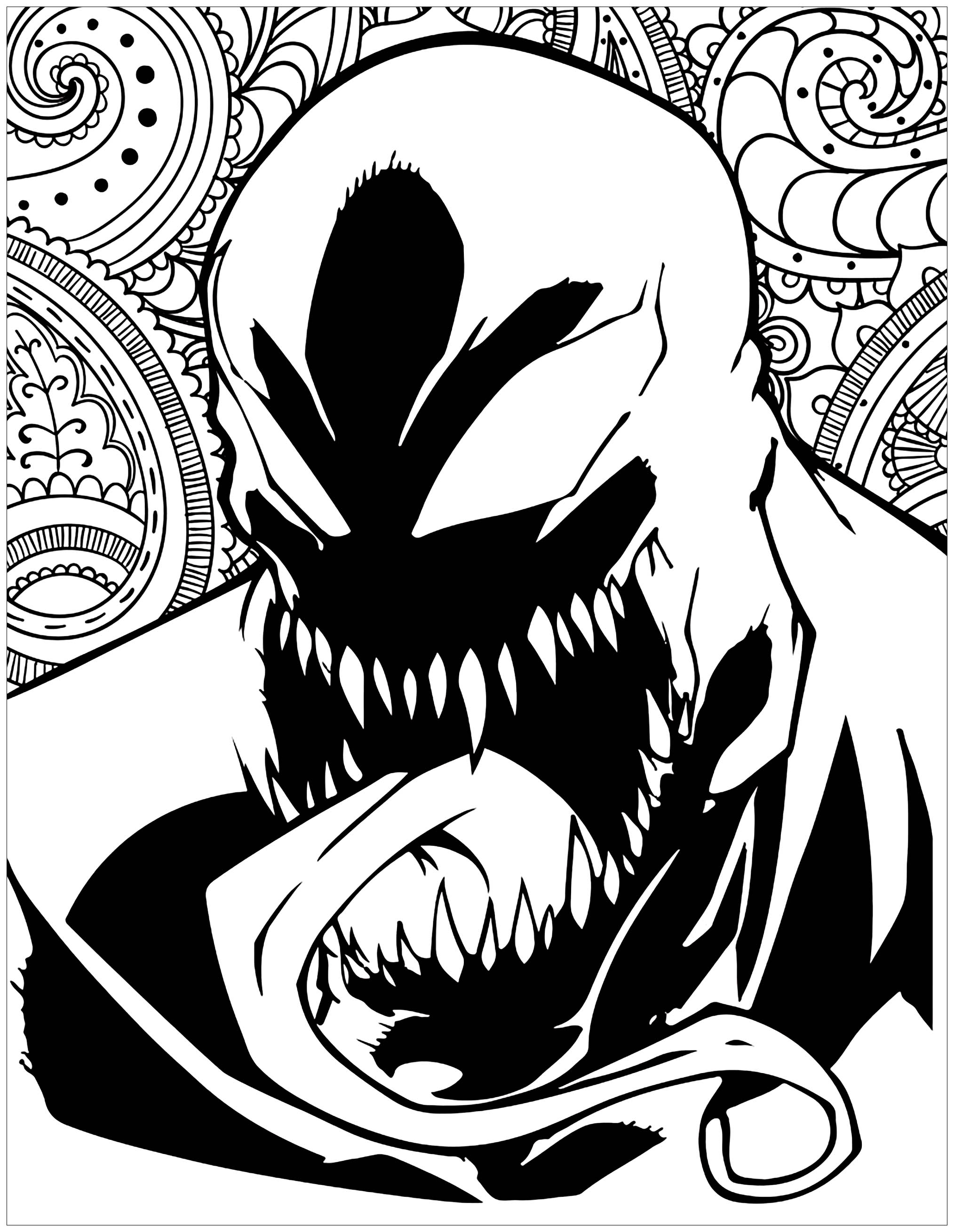 marvel venom coloring pages venom face drawing at getdrawings free download venom marvel coloring pages