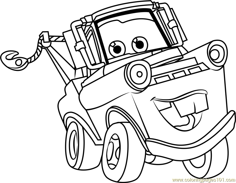 mater coloring page printabl images with cars characters tow mater coloring sheet coloring mater page