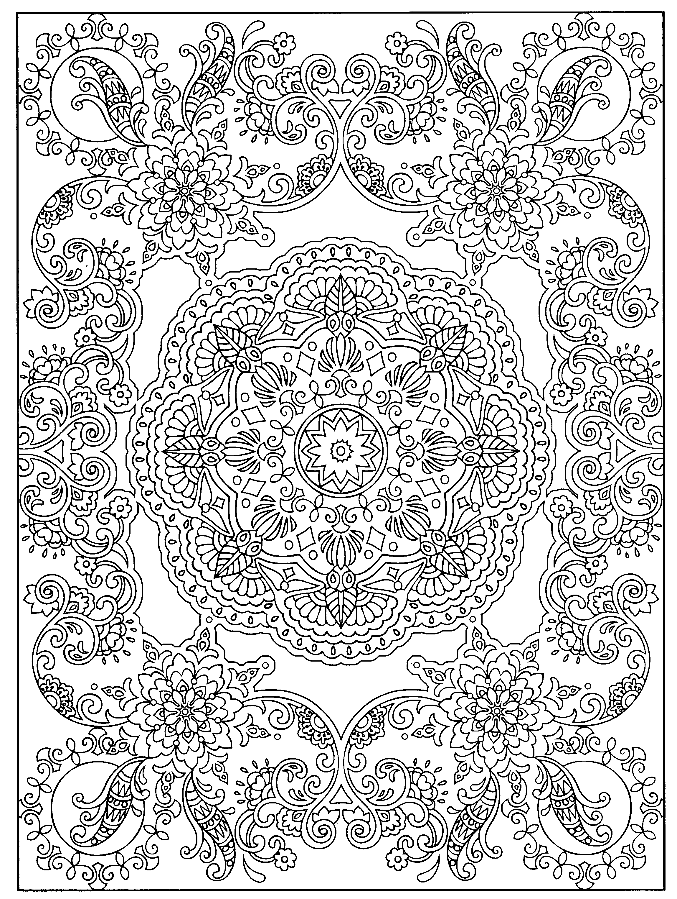 mehndi coloring pages mehndi flower pattern in form of heart for henna drawing pages mehndi coloring