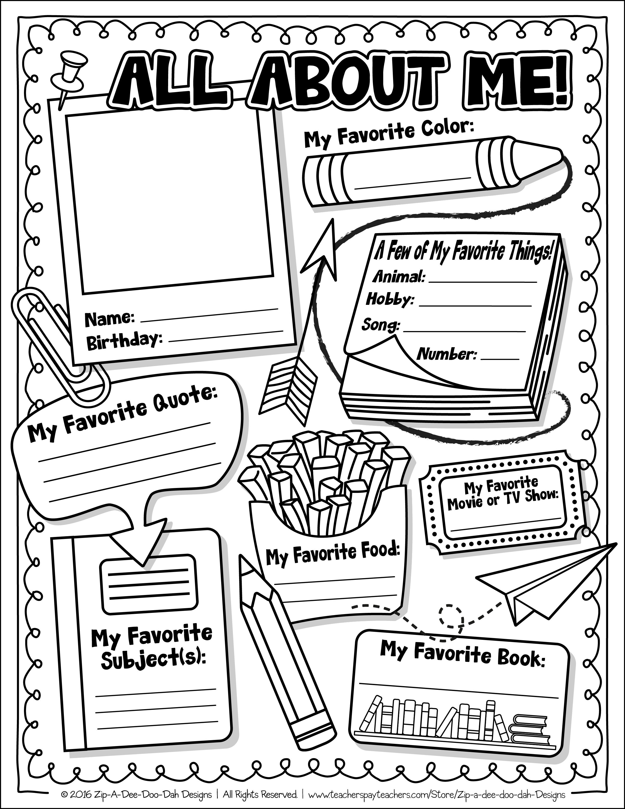 middle school coloring pages pdf free all about me activity worksheet about me school pdf coloring middle pages