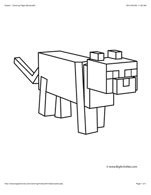 minecraft ocelot coloring pages minecraft coloring page with a picture of an ocelot to pages minecraft ocelot coloring
