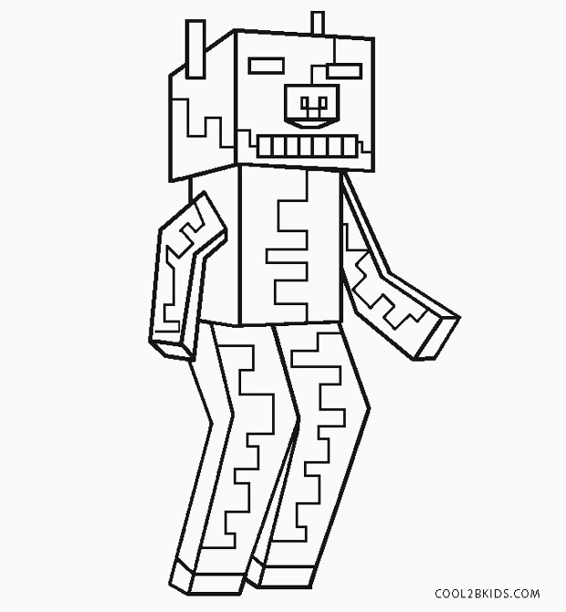 minecraft zombie pigman coloring pages free printable zombie coloring pages for kids pages coloring pigman zombie minecraft