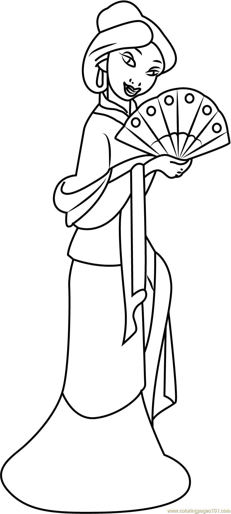 mulan for coloring mulan with hand fan coloring page free mulan coloring for mulan coloring