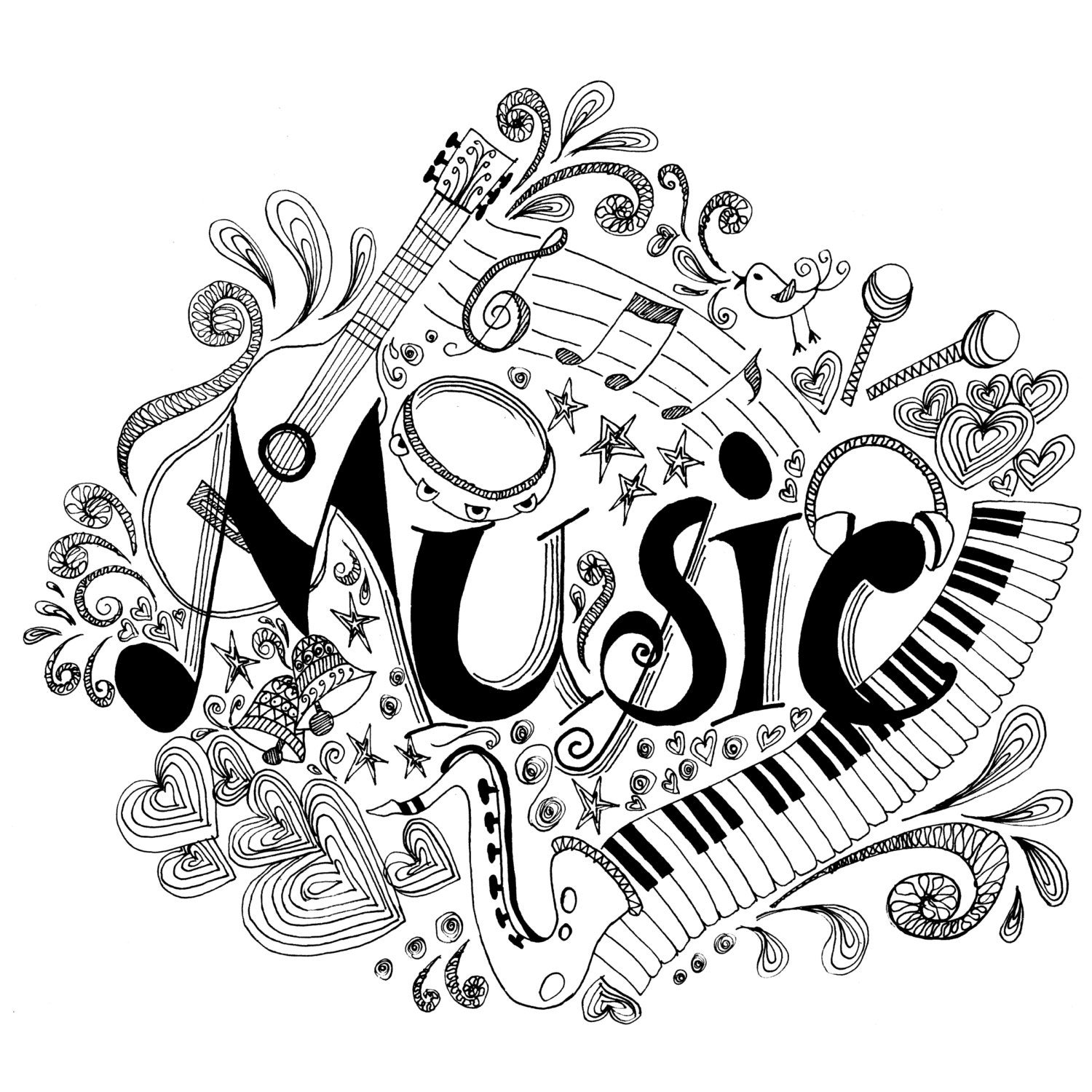 music coloring pages free musical drawing at getdrawings free download music pages coloring free