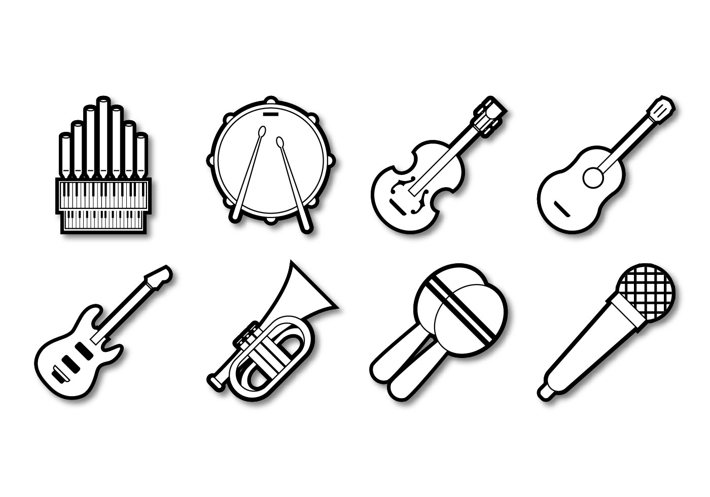 musical instrument drawings free music instrument icon vector download free vectors musical drawings instrument
