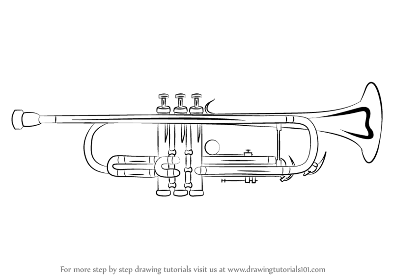 musical instrument drawings how to draw a trumpet easy astar tutorial instrument musical drawings