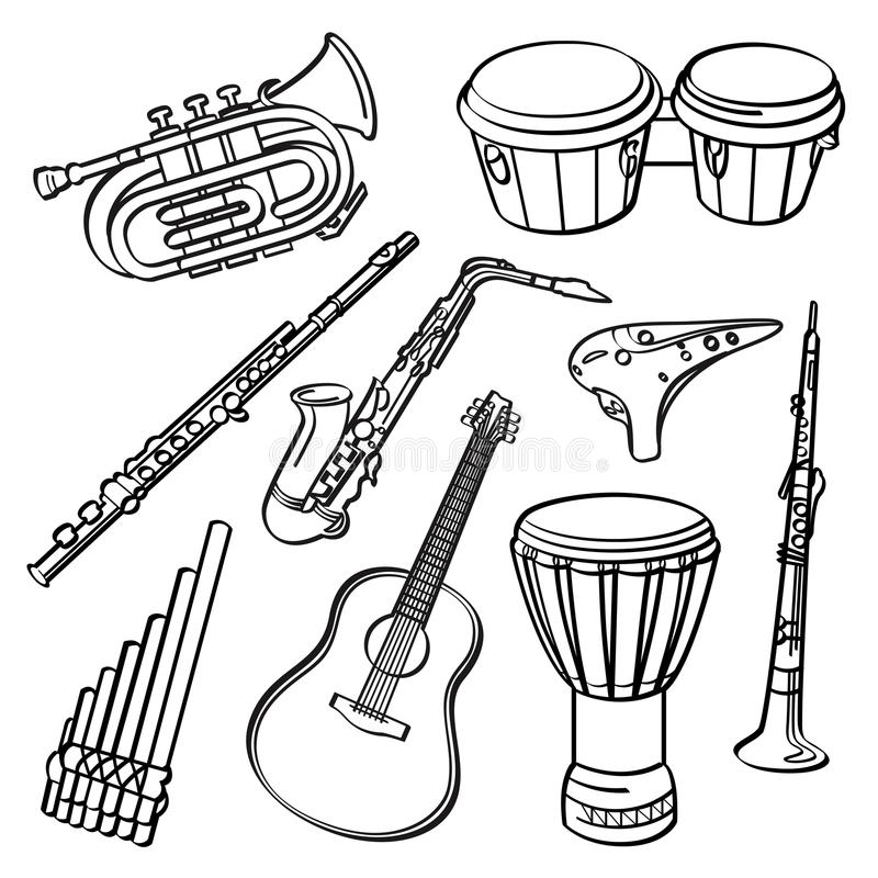 musical instrument drawings musical instruments stock illustration illustration of drawings instrument musical