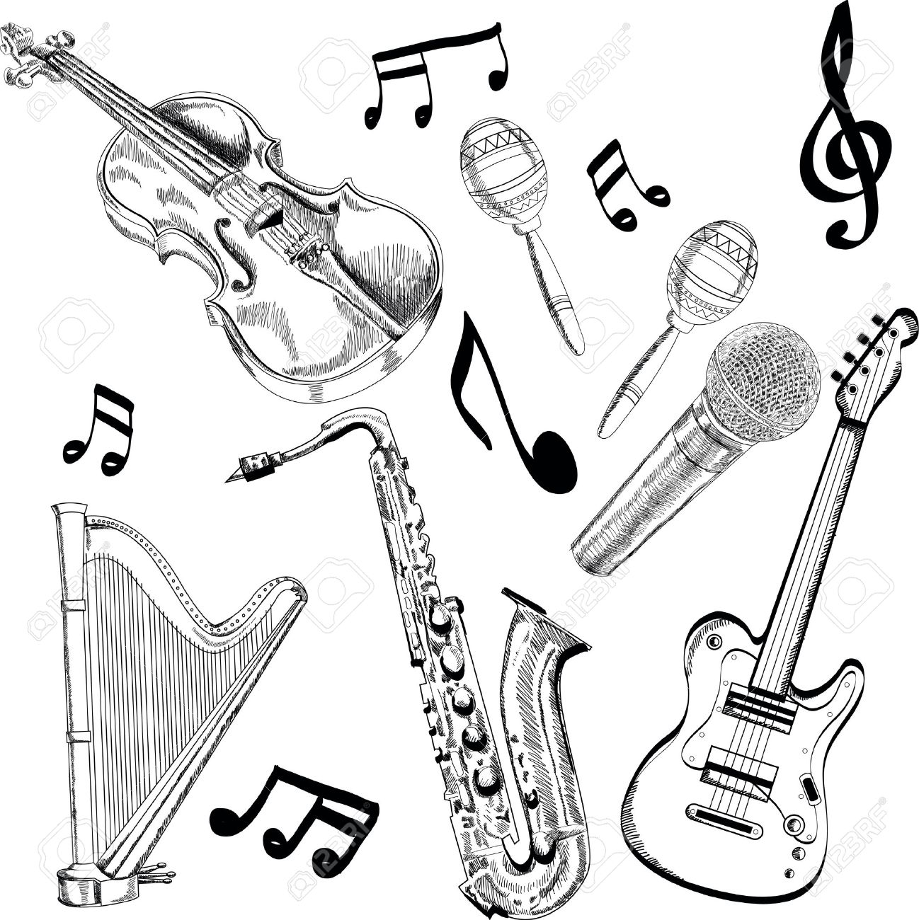 musical instrument drawings set of black and white illustrations of musical instrument musical drawings
