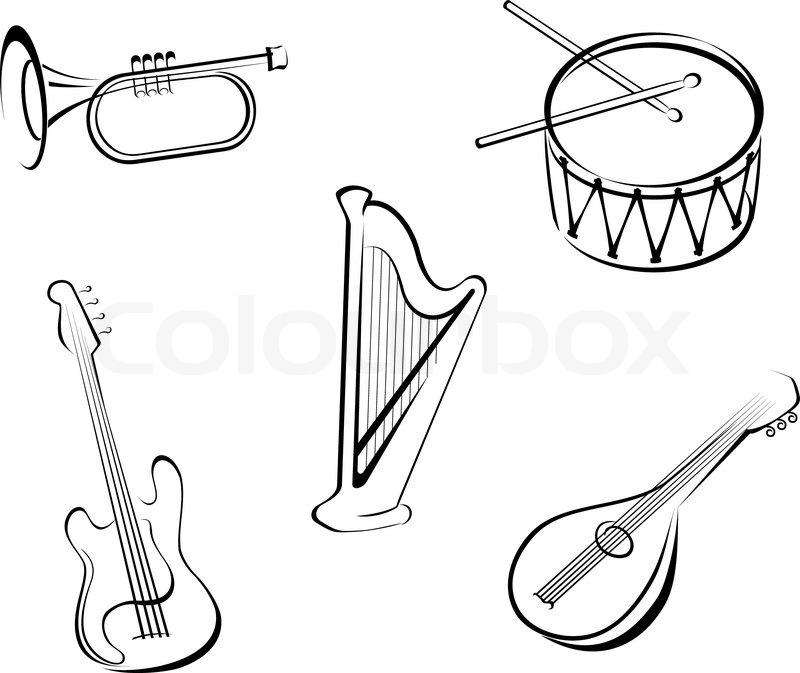 musical instrument drawings the best free string drawing images download from 241 musical instrument drawings