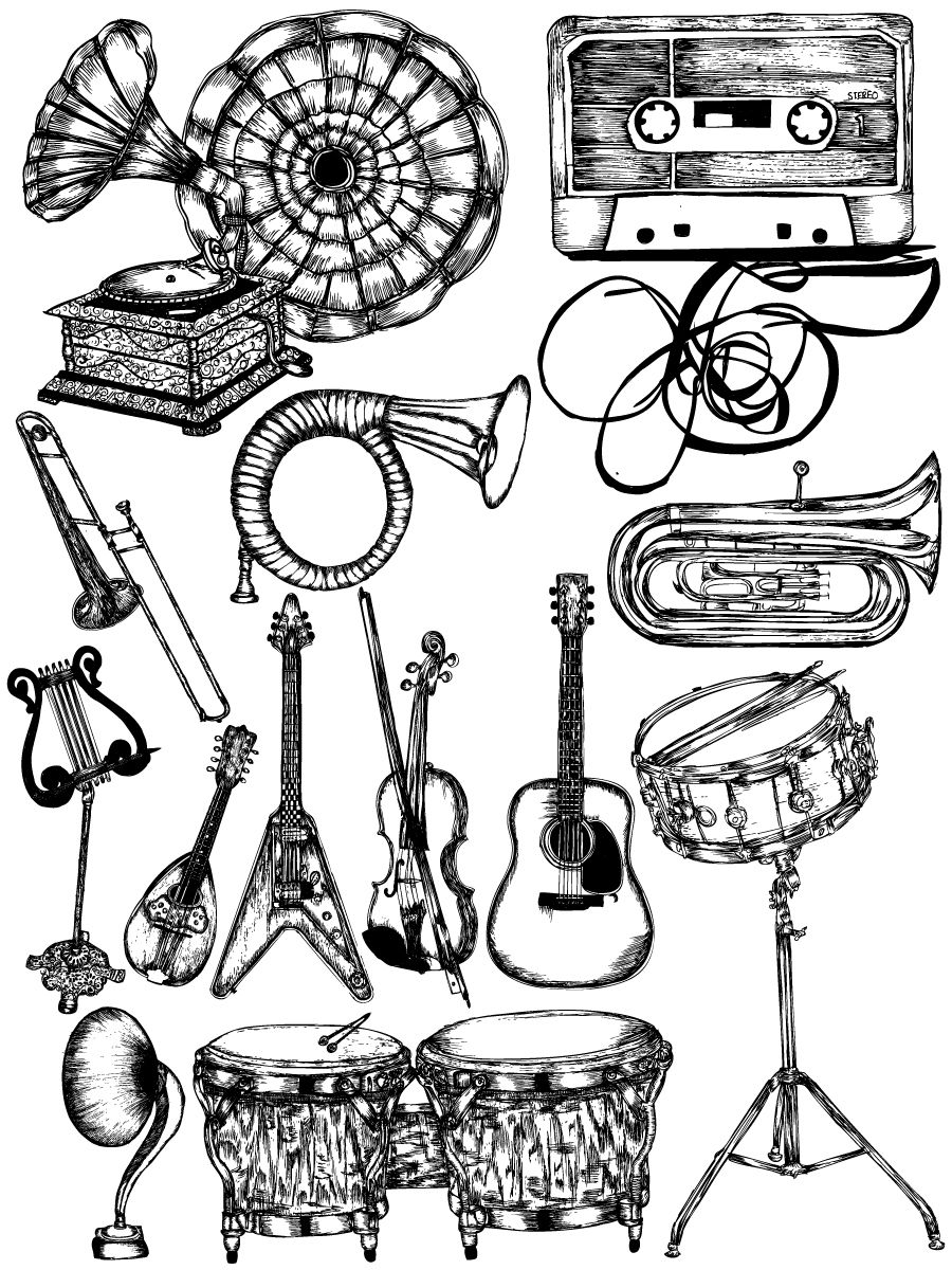 musical instruments drawing very pinteresting music instruments art inspiration musical drawing instruments