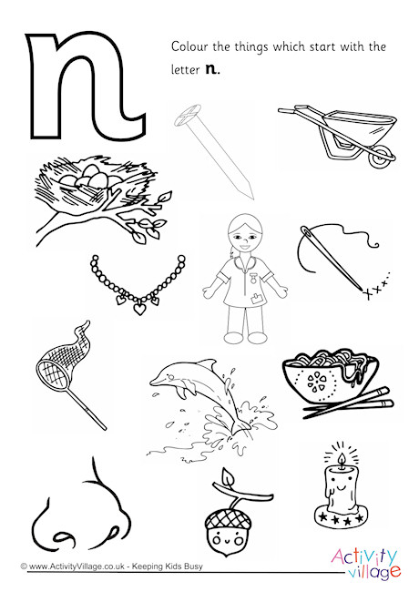 n coloring worksheet start with the letter n colouring page worksheet coloring n