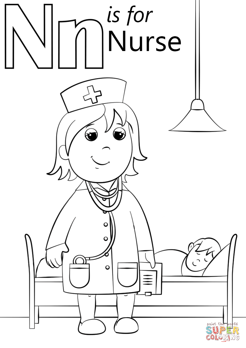 n is for nurse coloring page alphabet colouring pages coloring is n page for nurse