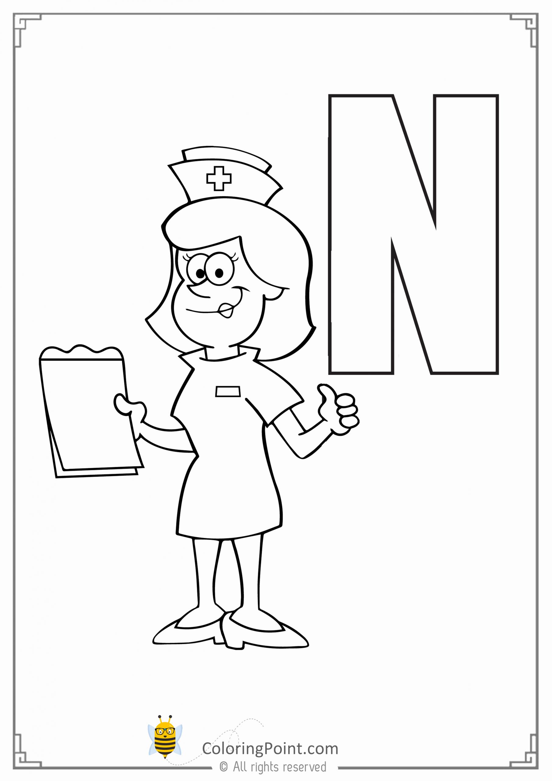 n is for nurse coloring page letter n coloring sheet in 2020 alphabet coloring pages nurse coloring n for is page