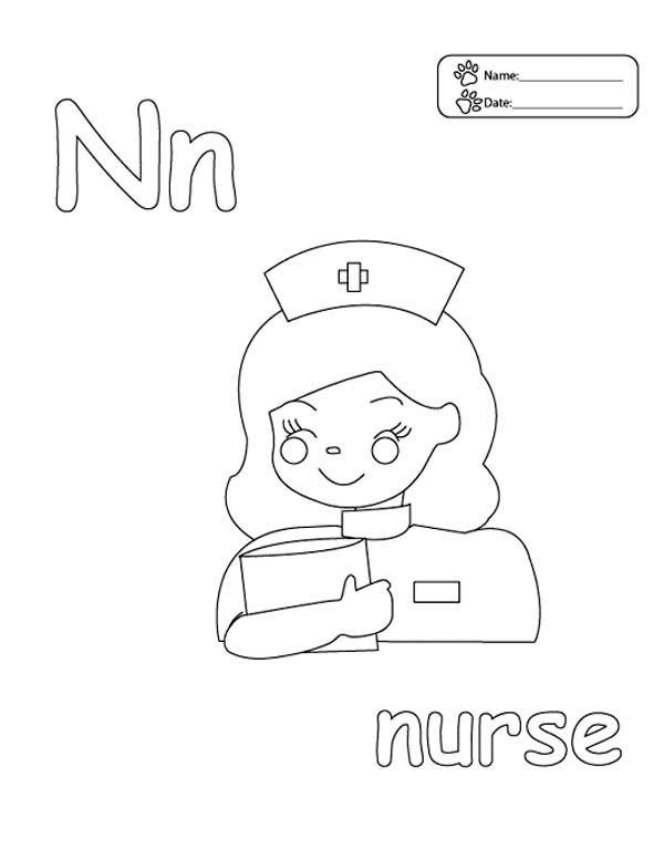 n is for nurse coloring page letter n is for nurse coloring page coloring sun di 2020 coloring n page nurse for is