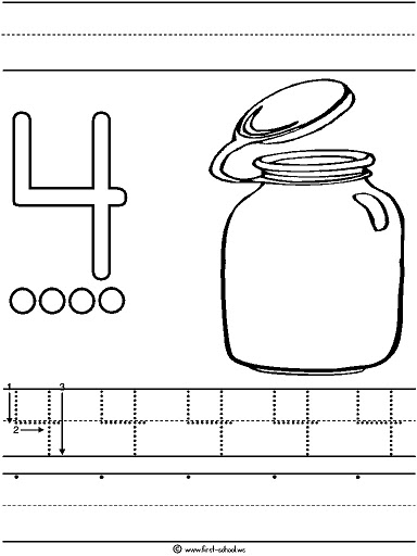 number 4 coloring pages preschool number 4 coloring page getcoloringpagescom 4 preschool pages number coloring