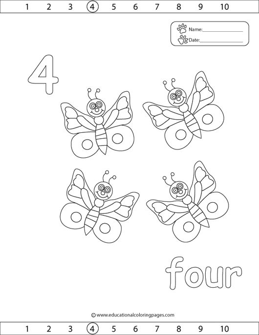 number 4 coloring pages preschool number 4 tracing and colouring worksheet for kindergarten 4 preschool number coloring pages