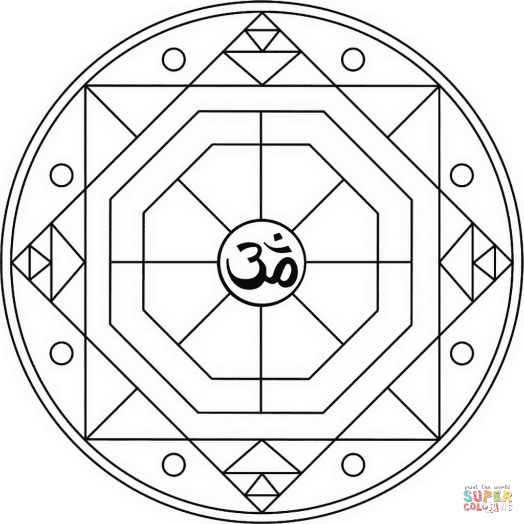 om mandala coloring page don39t eat the paste lotus om mandala to color page om coloring mandala