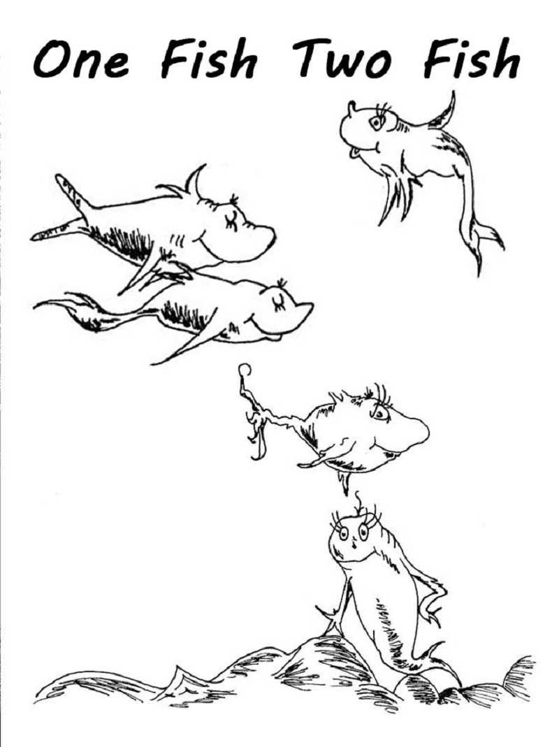 one fish two fish coloring pages one fish two fish dr seuss characters coloring pages coloring one two pages fish fish
