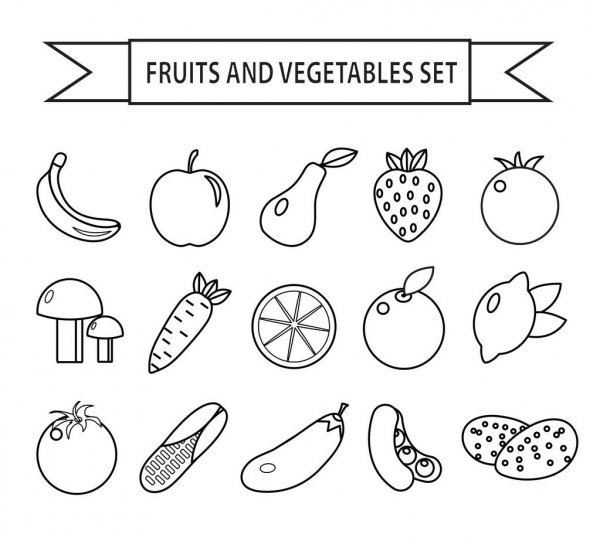 outline pictures of fruits and vegetables fruits and vegetables line style seamless pattern stock and pictures vegetables outline of fruits