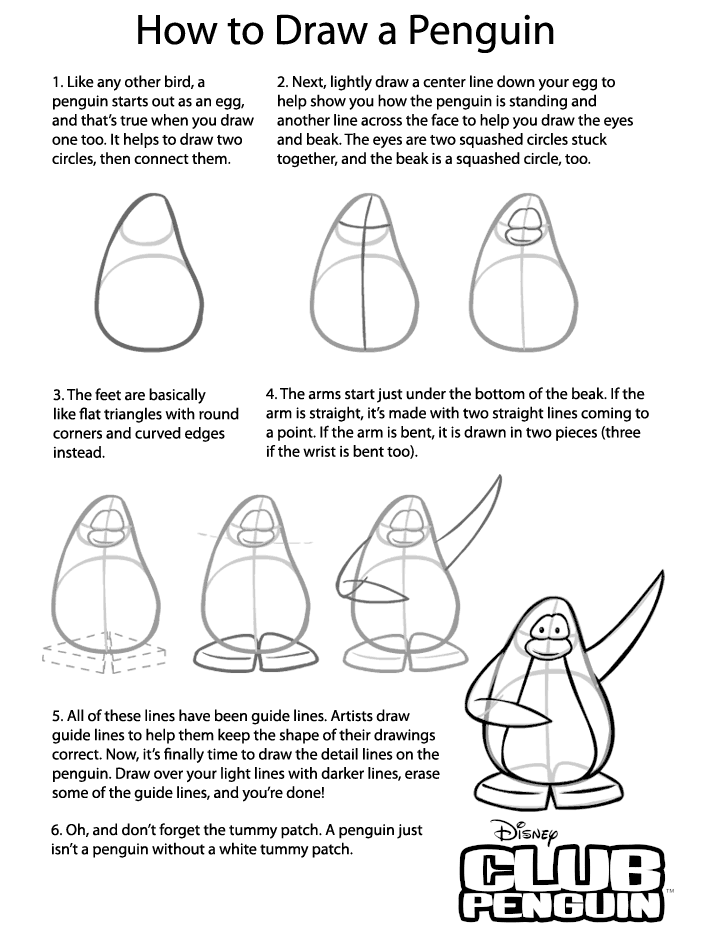 penguin steps cub penguin how to draw a penguin club penguin cheats steps penguin