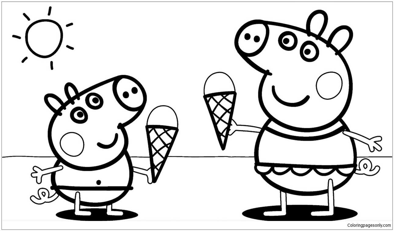 peppa pig colouring pages online peppa pig with ice cream coloring page free coloring pig peppa online pages colouring