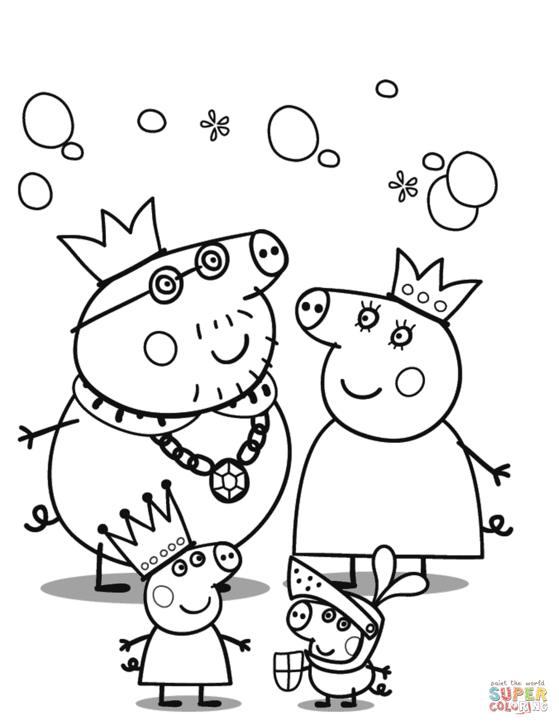 peppa pig colouring pages online peppa pig39s royal family coloring page free printable pages colouring pig peppa online